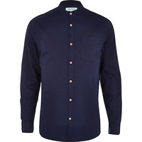 River Island MensNavy grandad collar Oxford shirt