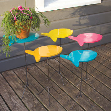 SET OF FIVE PAINTED METAL FISH NESTING ACCENT TABLES