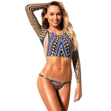 Geometric African Print Long Sleeve Tanga Swimsuit (12-14) Large