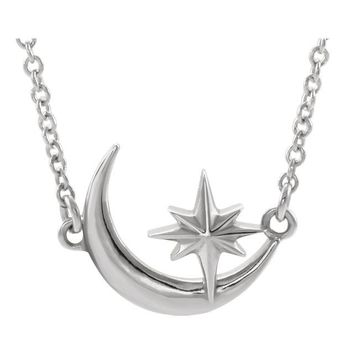 Crescent Moon & Star Necklace or Center