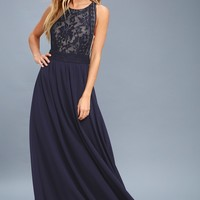 Forever and Always Navy Blue Lace Maxi Dress