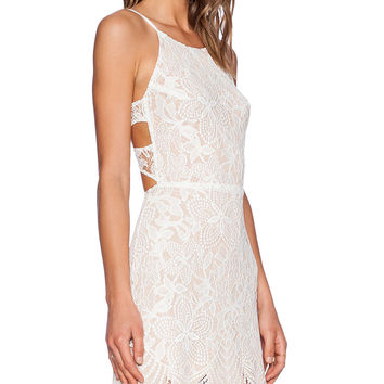 White Strappy Backless Floral Lace Mini Dress