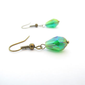 Small Green Teardrop Earrings