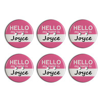 Joyce Hello My Name Is Plastic Resin Button Set of 6