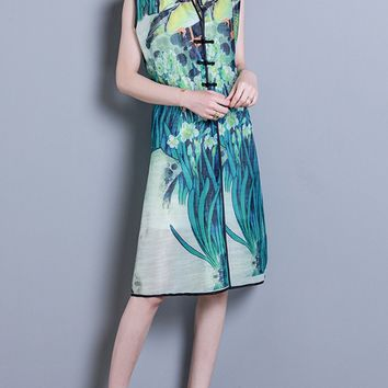 Streetstyle  Casual Band Collar Contrast Trim Slit Printed Shift Dress