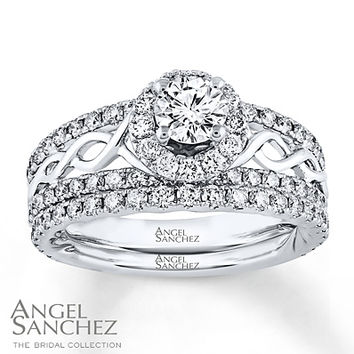 Angel Sanchez Bridal Set 1 3/4 ct tw Diamonds 14K White Gold