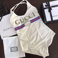 White GUCCI Beachwear One Piece Bikini Swimsuit Bodysuit