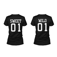 Sweet 01 Wild 01 Matching Best Friends T Shirts BFF Tees For Two Girls Friends