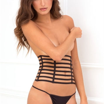 2-piece Cage Waspie and  G-string Set - Black - Small- Medium