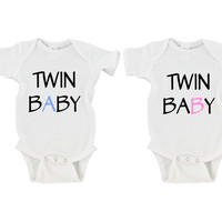 Twin A Twin B Baby  - Twin Gerber Onesuit ® | Preemie - 24 Months