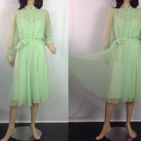70s Sheer Pintuck Dress Separate Under Slip Chiffon Dress Green Party Dress s sm small  36
