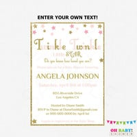 Twinkle Twinkle Little Star Baby Shower Invitation, Editable PDF, Pink and Gold Baby Shower Invitation, Girl Baby Shower, Printable, STPG