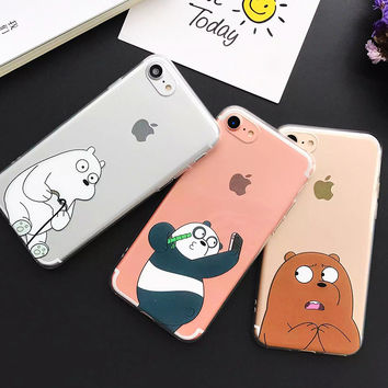 New China Cute Panda Case For iPhone 7 Case Cartoon Animal Bear Capa Back Cover Soft TPU Phone Cases For iPhone7 6 6S Plus Coque -0316