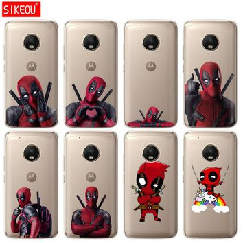 silicone case phone cover For Motorola Moto G6 G5 G5S Z2 Z3 PLAY PLUS X4 E4 E5 C soft tpu Super Marvel Deadpool protective coque