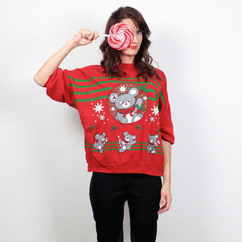 Vintage Xmas Sweater 1980s Thin Christmas Sweatshirt Koala Bear Red Green Screen Print Pullover Jumper Ugly Tacky Sweater Party M L Large