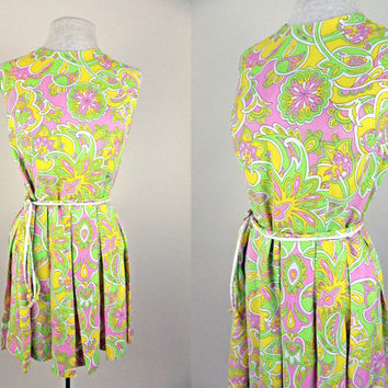 1960s Vintage Go Go Sleeveless Short Dress // Yellows Pinks and Greens // Mini Pleated Skirt // Belted // Small