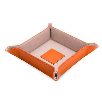"""Orange """"Lizard"""" Leather Snap Valet with Pig Skin Leather Lining"""