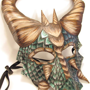 """Leather Dragon Mask with Detailed Scales and Dimensional """"Beak"""""""