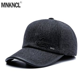 Trendy Winter Jacket MNKNCL Warm Thickened Baseball Cap With Ears for Men Wool Hat Snapback Hat Ear Flaps For Men Hat Autumn Winter Hats AT_92_12