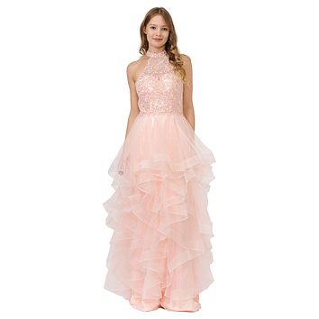 Halter Tiered Long Prom Dress Blush