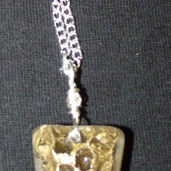 """Gold Pendant, Real Wasp Hive Gold Pendent Necklace , Necklace Colored Gold Clear Resin, Limited Edition  20"""" Silver plated Wire and Chain"""