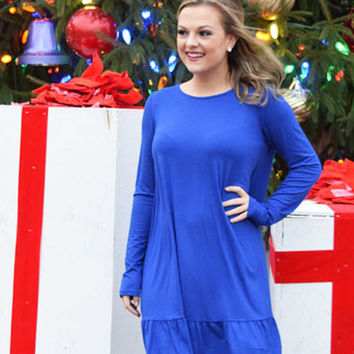royal blue long sleeve swing dress with ruffle bottom