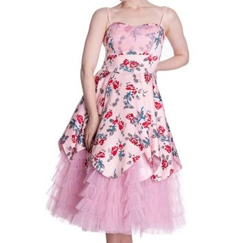 Hell Bunny Pastel Pink Victorian Layered Tulle Floral Party Dress