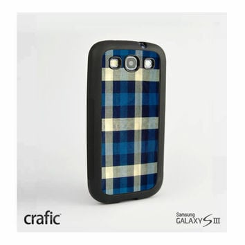 Blue Checker Fabric Print Samsung i9300 Galaxy S3 III