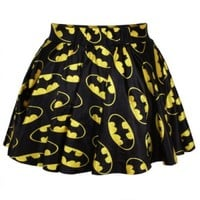 Black & Yellow Bat Man Digital Print Skater Mini Skirt