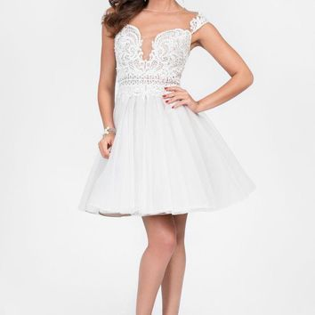Terani Couture - Glamorous Laced Illusion Neck Short Ball Gown 1711P2250