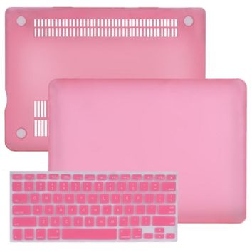 SlickBlue Rubberized Hard Case for 13 MacBook Pro w-Keyboard Cover (Baby Pink)