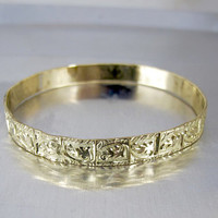 Rolled Gold Bangle Bracelet. Antique Repousse Yellow Gold Filled Leaves Bracelet. Stacking Bracelets.