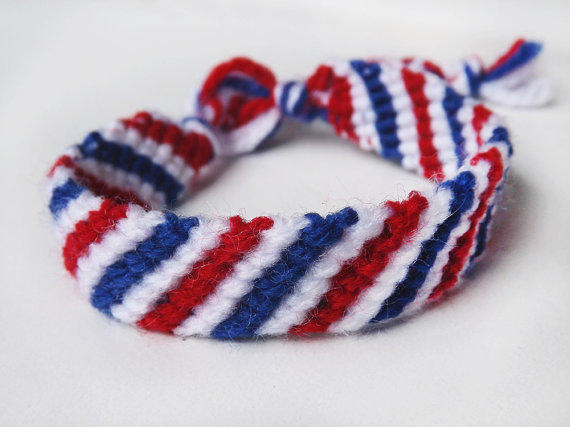 Red White And Blue Striped Friendship From Knittedwhiskers On
