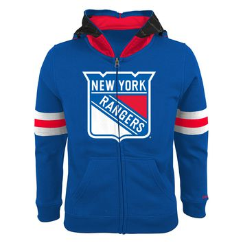 New York Rangers Youth NHL Goalie Mask Full Zip Hoodie
