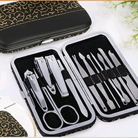 Kakaxi(TM) Stainless Steel Manicure Pedicure Earpick Nail Clippers Nail Tools Set , Travel & Grooming Kit 12pcs