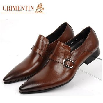 GRIMENINT Fashion genuine leather mens dress shoes pointed toe casual business office