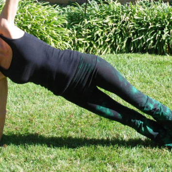 Twilight Green Tie Dye Yoga Pants by Splash Dye Activewear