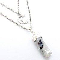 White Witch Rainbow Moonstone Necklace
