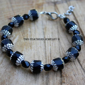 Black Bracelet - Black And Silver Bracelet - Czech Glass Bracelet - Cathedral Beads - Silver Capped Beads - Adjustable - Gift For Her