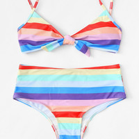 Striped Knot Front Bikini Set