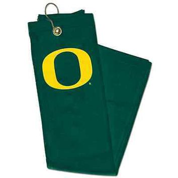 "OREGON DUCKS 15""x25"" EMBROIDERED GOLF TOWEL BRASS CLIP BRAND NEW WINCRAFT"