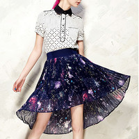 Womens Galaxy Print A line Spring Galaxy Dress Thin Chiffon Shirt P28Q3352PK