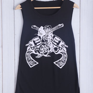 Black Guns Printed Tank Top