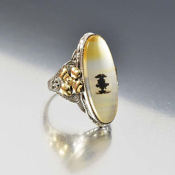 Victorian Dendritic Agate Ring, Moss Agate Ring, Gold Agate Ring, Picture Agate Ring, Agate Jewelry, Antique Jewelry, Sterling Silver