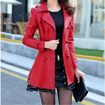 Womens black Thicken keep warm leather jacket  plus size S-XXXXXL leather jackets women High quality long Leather trench coat