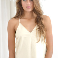 Creme leather lace top