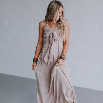 Ally Tie Front Maxi Dress - Natural