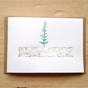 Christmas Card, Holiday Notecard with tree and kraft envelope