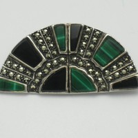 Sterling Silver Art Deco Fan Brooch Onyx Malachite Marcasite Pin