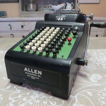 RC Allen 66 Adding Machine Calculator Art Deco Home Decor Black Decor Vintage Office Supllies